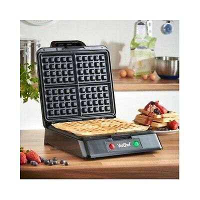 Belgian Waffle Maker Machine Stainless Steel Non Stick Iron 4 Waffles Breakfast