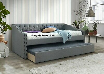 NEW 3ft Single Grey Linen Fabric Guest Day Bed Frame WITH TRUNDLE FREE DELIVERY