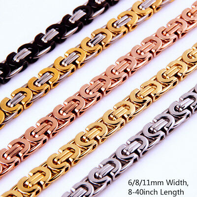"""6/8/11mm Fashion Stainless Steel Byzantine Flat Chain Mens Womens Necklace 8-40"""""""