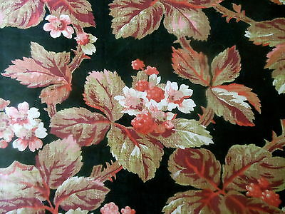 Antique 19thc French Raspberry Floral Cotton Fabric ~ Black Coral Blush