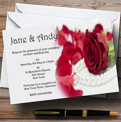 White Pearl Red Rose Personalised Evening Reception Invitations