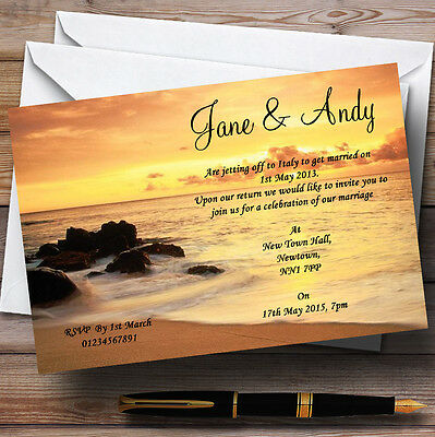 Beautiful Sunset Beach Abroad Personalised Evening Reception Invitations
