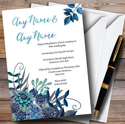 Aqua Green & Blue Watercolour Florals Personalised Evening Reception Invitations