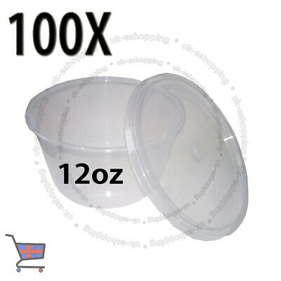100 Round Food Containers Plastic Clear Storage Tup with Lids Deli 12oz 120x49mm