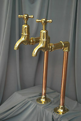 Old Brass & Copper Tall Bib Taps Ideal Belfast Kitchen Sink Reclaimed  Refurbed