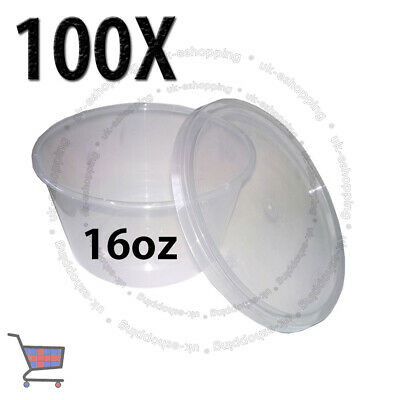 100 Round Food Containers Plastic Clear Storage Tup with Lids Deli 16oz 120x64mm