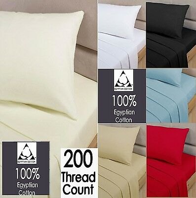 200Tc 100% Egyptian Cotton Fitted Sheet Single Double King Super King 4Ft Double