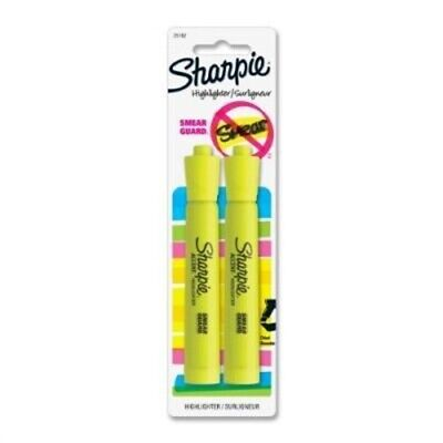 Sharpie Accent Tank-Style Highlighters, 2 Fluorescent Yellow Highligh,No 25162PP