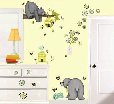 PATCHWORK HONEY GiaNT WALL DECALS Baby Bears Bees Flowers Stickers Nursery Decor
