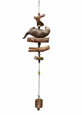 Sea Otter Bell Chime Carved Hibiscus Wood Hand Made Cohasset