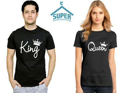 KING QUEEN Couple Tee Shirts Matching Tees King Queen LETTER Design Couple Shirt