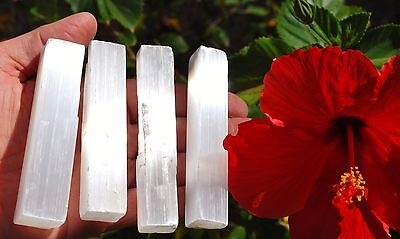 ZENERGY GEMS™: 4 Amazing Pure WHITE Selenite Natural Crystal Wands POWERFUL 10oz