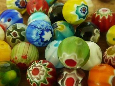 40 pce Vibrant Multi-Coloured Round Millefiori Glass Beads 10mm Jewellery Making