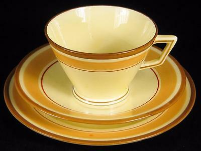 Crown Staffordshire Caramel Stripes Art Deco Cup/Saucer/Plate Trio (2 available)