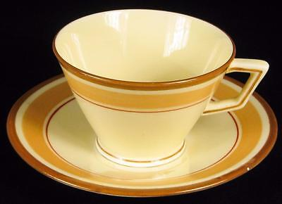 Crown Staffordshire Caramel Stripes Art Deco Cup & Saucer
