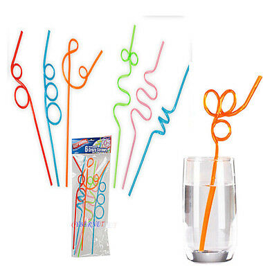 6 Crazy Straw Coloured Curly Novelty Drinking Party Bag Filler Twisty Kid Swirl