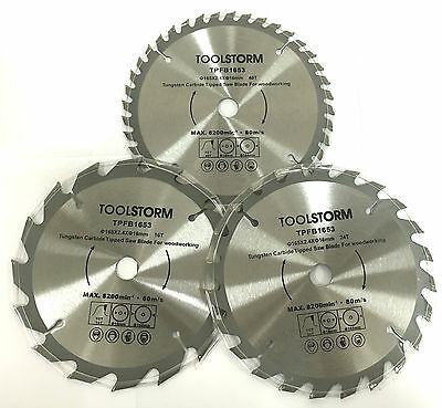 3Pc Circular Saw Blades 165Mm  16T 24T 40T Arbor 16Mm -Tct Cutting