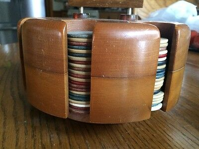 Vintage Poker Chips Set With Covered Wood Caddy / Revolving Carousel