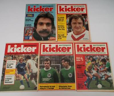KICKER Sport Magazines 1976 x5 Sportmagazin Football Fussball Job Lot Germany