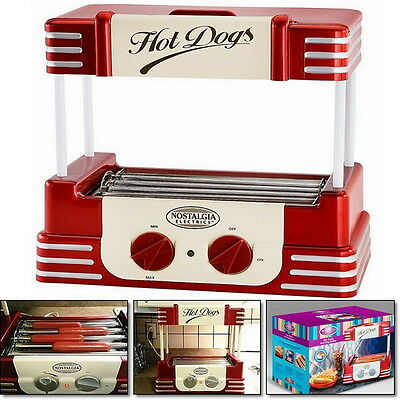 Retro Mini Hot Dog Cooker Maker Roller Electric Grill Machine Hotdog Bun Warmer