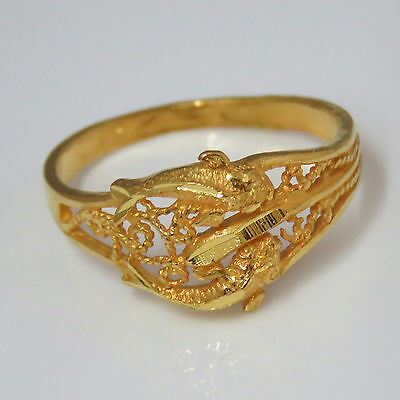 NYJEWEL 24k Solid Gold Brand New China Style Meaningful Craved Perfect Fish Ring