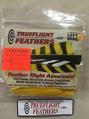 Trueflight 5 inch Feathers Left Wing Shield Cut 100 pack Yellow