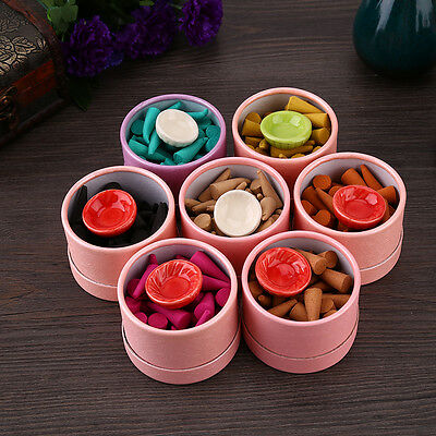 35pcs Burning Incense Cones Sandalwood Aroma Fragrance Scent Free Ceramic Holder