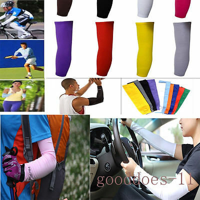 Mens Sun Protective UV Block Arm Sleeves Cooling Cover Cycling Basketball Sport