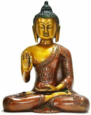 Bronze Lucky Hand Thai Buddha Statue Large Meditating Buddhas Gorgious Elements