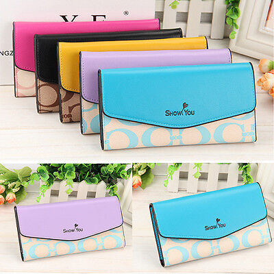 Fashion Women Leather Bifold Wallet Clutch Card Holders Purse Lady Long Handbag