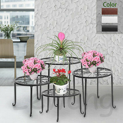 UK 4 in 1 Suit Round Metal Plant Stand Flower Rack Decor Balcony Garden 3 Colour