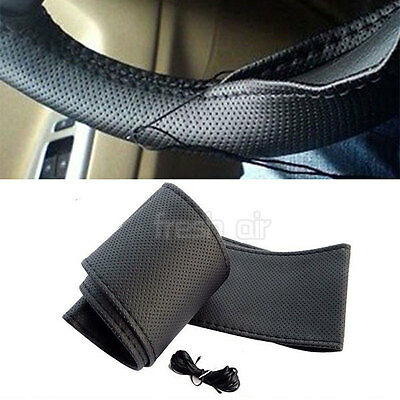 Universal PU Leather DIY Car Steering Wheel Cover With Needles and Thread UK