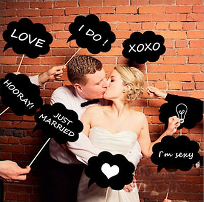 10pcs Photo Props Wedding Birthday Party DIY Write On Stick Photography
