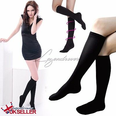 1 or 2 Pairs Unisex Knee Flight Socks Support DVT Compression Travel Accessories