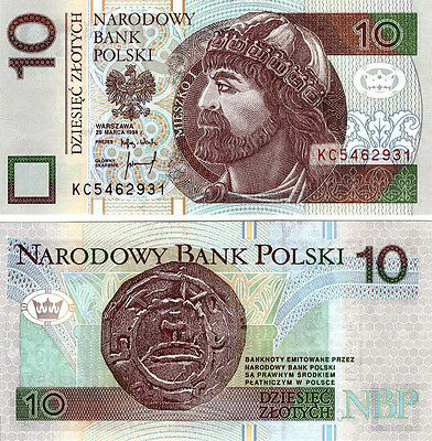 ■■■ Poland 10 zl P-173 1st Release 1994 replaced after 04.2014 UNC and rare ■■■