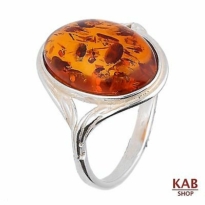 Cognac Baltic Amber Gemstone & Sterling Silver 925 Beauty Ring . Kab-R7