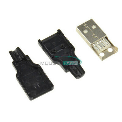 5PCS USB 2.0 Type-A Plug 4-pin Male Adapter Connector jack&Black Plastic Cover