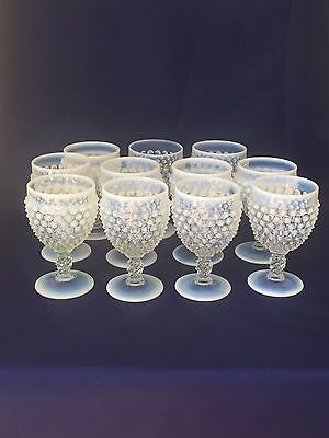 Fenton HOBNAIL French Opalescent Water Goblets ~ Set of 11