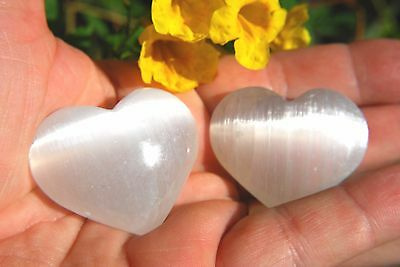 "[2] MD 2"" SELENITE POCKET PUFFY HEART Healing Crystal Reiki - ZENERGY GEMS™"