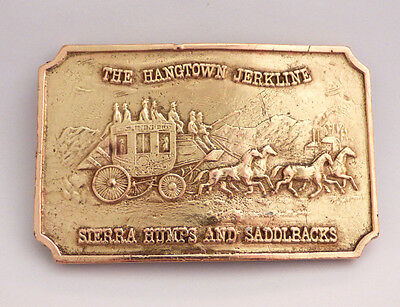The Hangtown Jerkline Stagecoach Bergamot Vintage 1970's Brass Belt Buckle