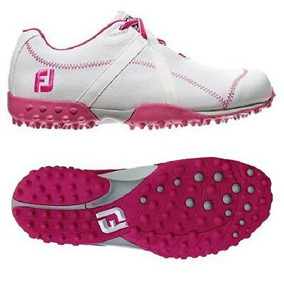 ** SALE ** Footjoy Ladies M Project Waterproof Golf Shoe White and Pink  2015