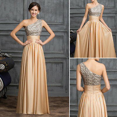 SEQUINS Long Formal Bridesmaid Evening Gown Prom Dresses Cocktail Party Wedding