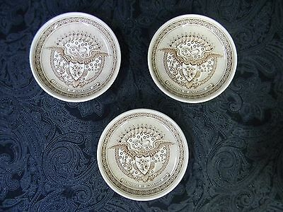 """3 VTG Alfred Meakin Coasters 4.25"""" Plates Staffordshire England FAIR WINDS Brown"""