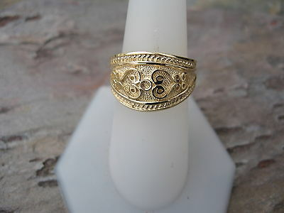 14 KT Yellow Gold Polished Byzantine Finish Etruscan Design Cigar Band Ring NEW