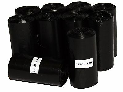 1035 Dog Pet Waste Poop Bags 45 Black Unscented Refill Rolls Coreless Usa