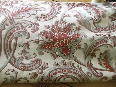 Antique French Art Nouveau Artichoke Cotton Fabric ~ Blue Gray Burgundy Olive #1