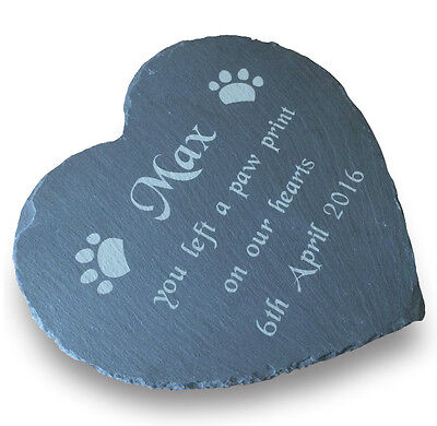 Personalised Large Slate Stone Heart Pet Memorial Grave Marker Headstone Plaque