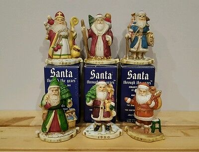Santa Through the Years Complete Set Vintage Porcelain Hand Painted Figurines