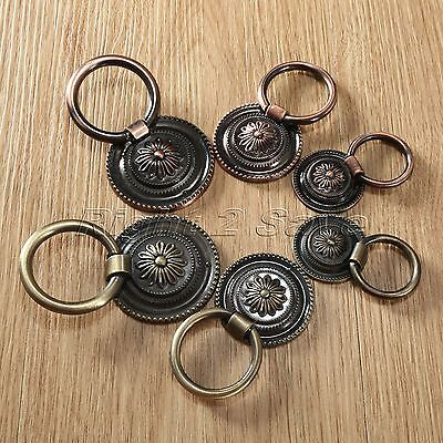 Alloy Vintage Cabinet Knobs Drawer Dresser Door Cupboard Drop Ring Pull Handle