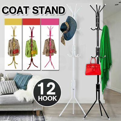 12 Hooks Coat Clothes Rack Umbrella Stand Tree Style Hanger Hook Carbon Steel
